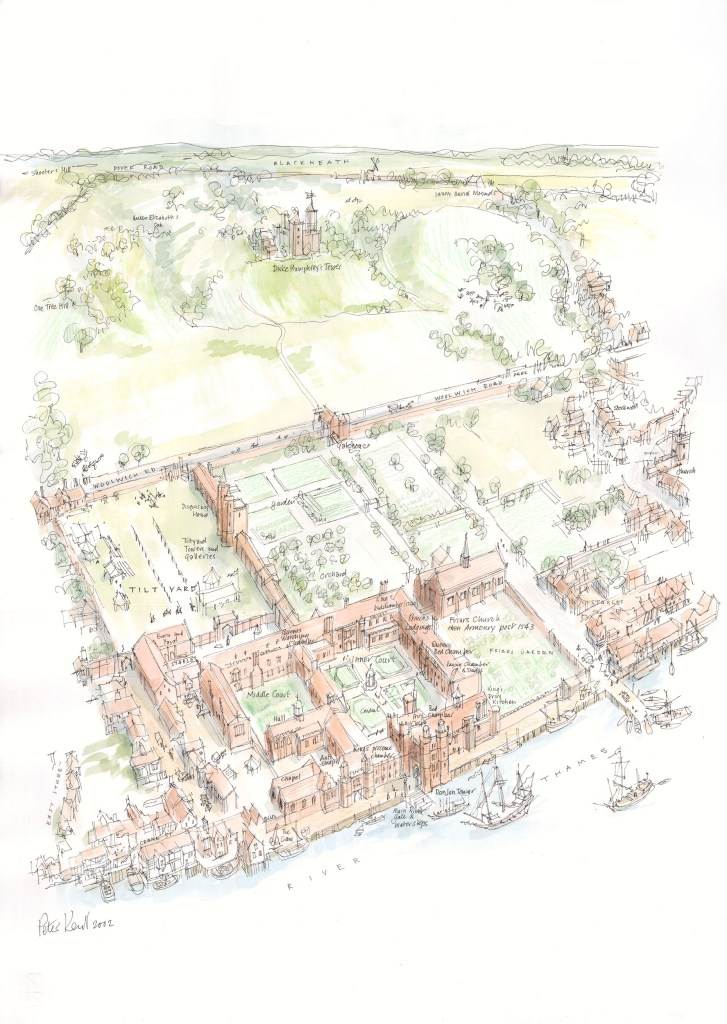 A reconstruction of Greenwich palace, one of the Tudor's Houses of Power