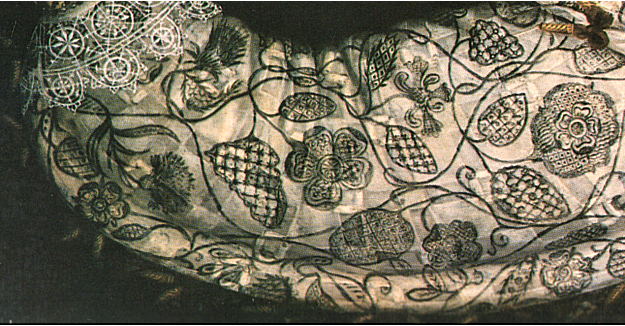 Henry VIII's laundress had to deal with blackwork, like this, very carefully