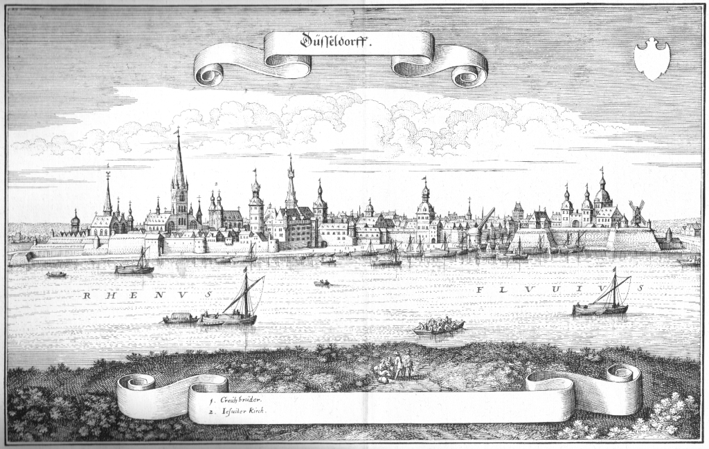 A sketch of sixteenth century Dusseldorf - birthplace of Anne of Cleves.