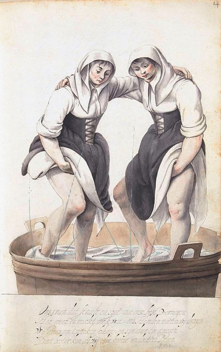 Henry VIII's laundress: washing the linen with your feet