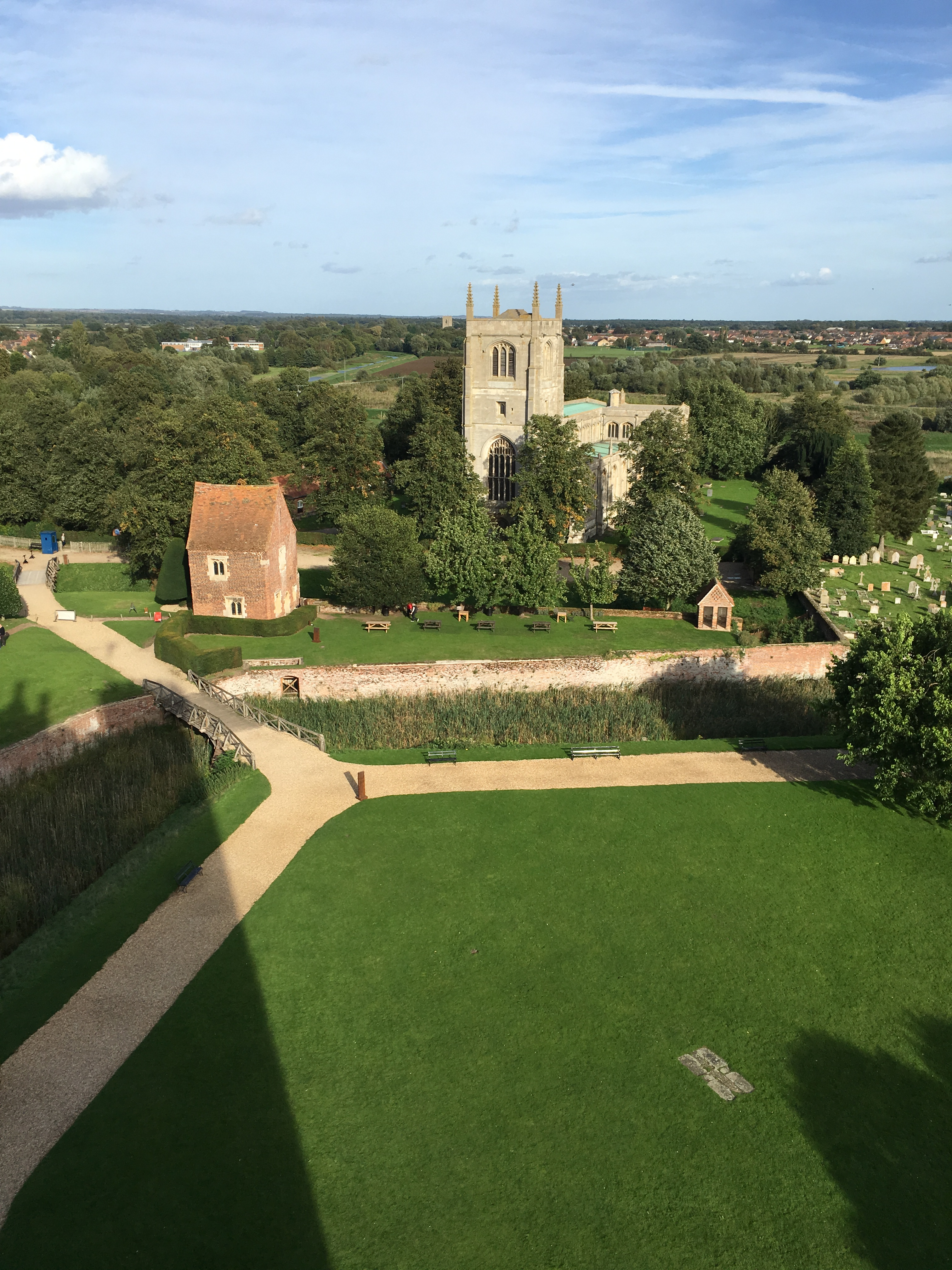 A View from the Tower of Tattershall Castle towards the old gatehouse