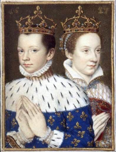 Mary, Queen of Scots and Francis, depicted in Catherine De Medici's personal Book of Hours c.1558 .