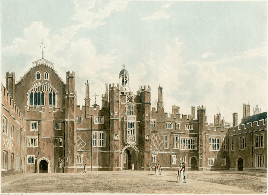 A watercolour painting of Base Court of Hampton Court