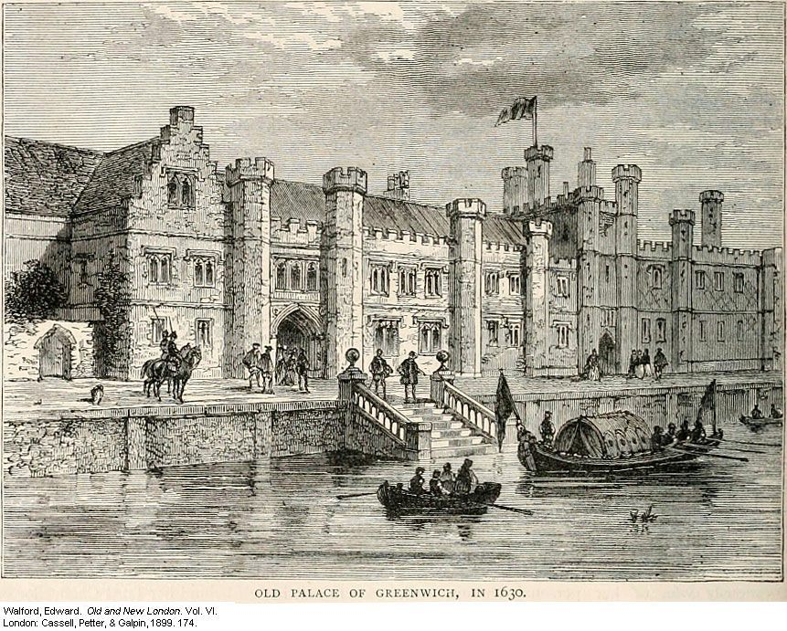 Drawing of the river front of Greenwich Palace, one of the Tudor's Houses of Power