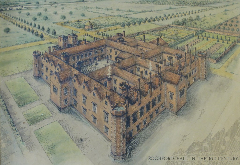 Painting of Rochford Hall - a reconstruction of how it looked in the 16th century. One of the locations in In the Footsteps of Anne Boleyn.