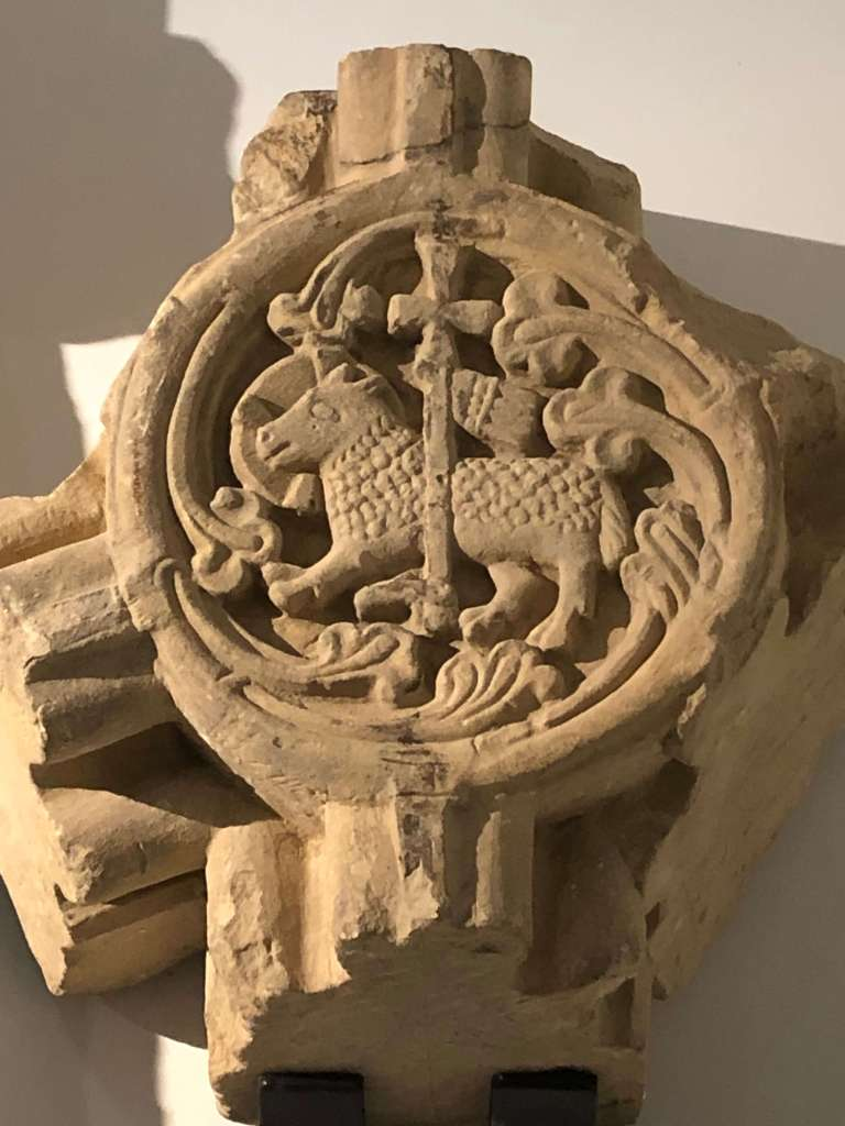An elaborately carved, medieval roundel, once part of Rievaulx Abbey