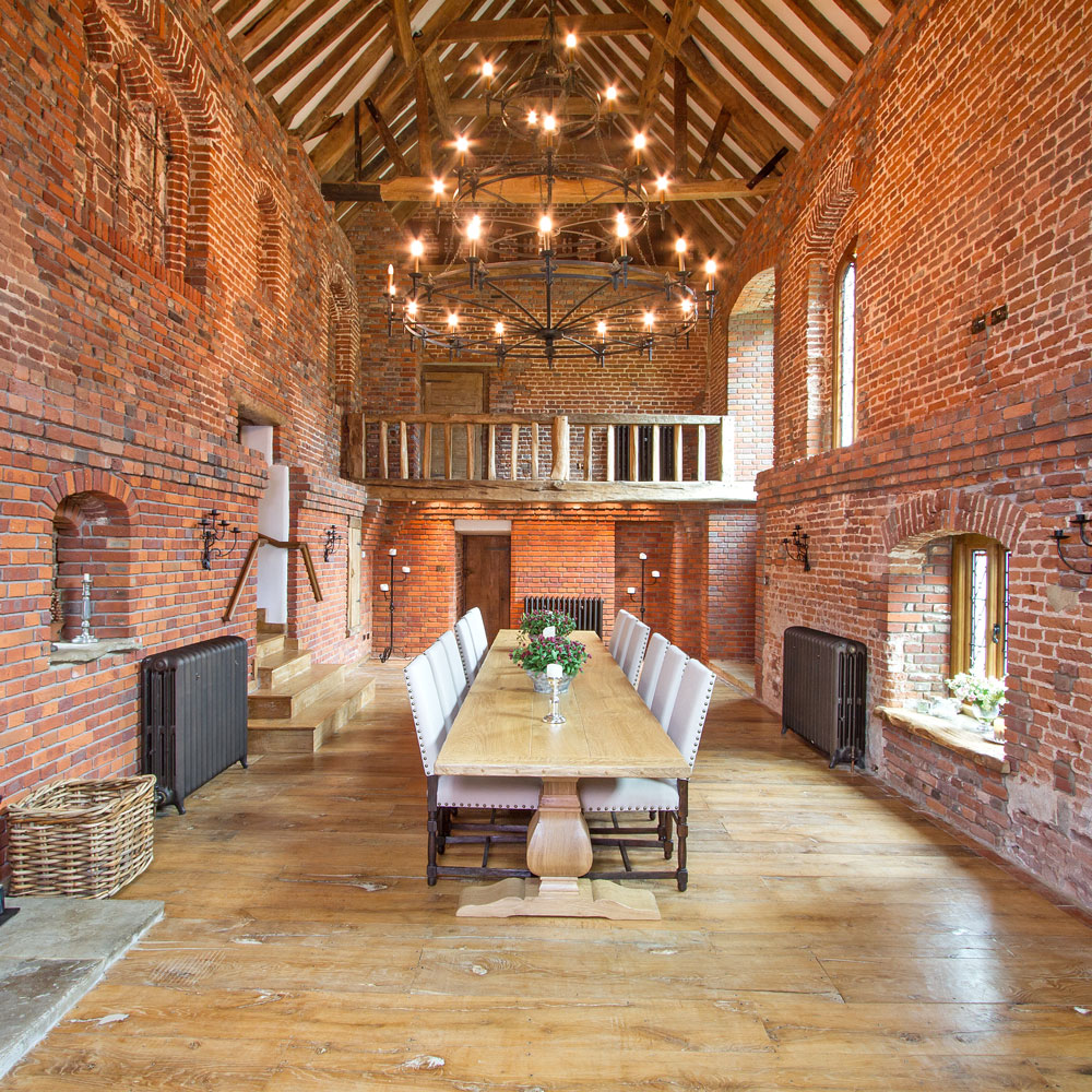 The interior of a red-bricked 'chapel' at Chesworth House