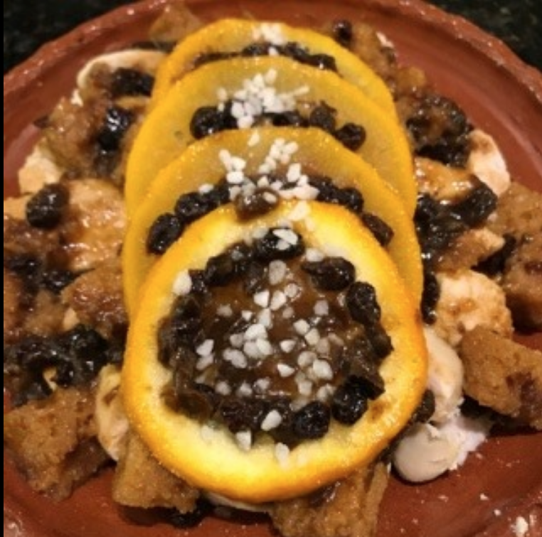 Tudor recipes: Chicken with Oranges on a plate