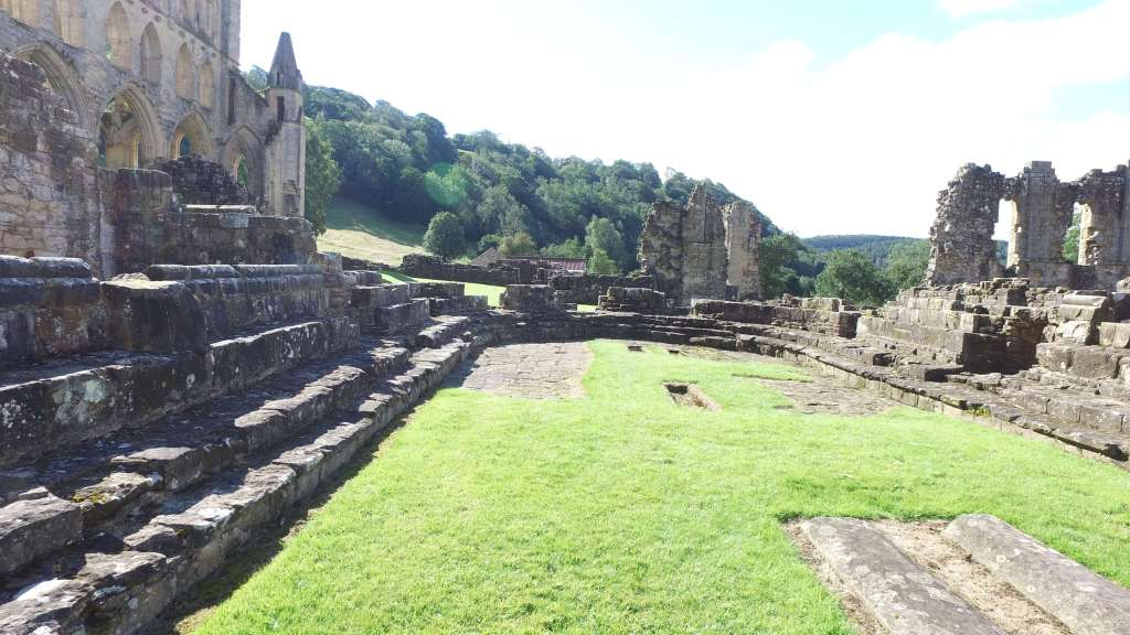 The ruins of the chapter house at Rievaulx Abbey
