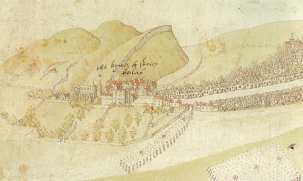 An early colour drawing of Holyrood Abbey and Palace