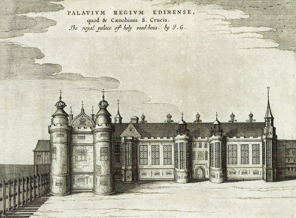 A black and white line drawing of the south range and the James V tower at Holyroodhouse.