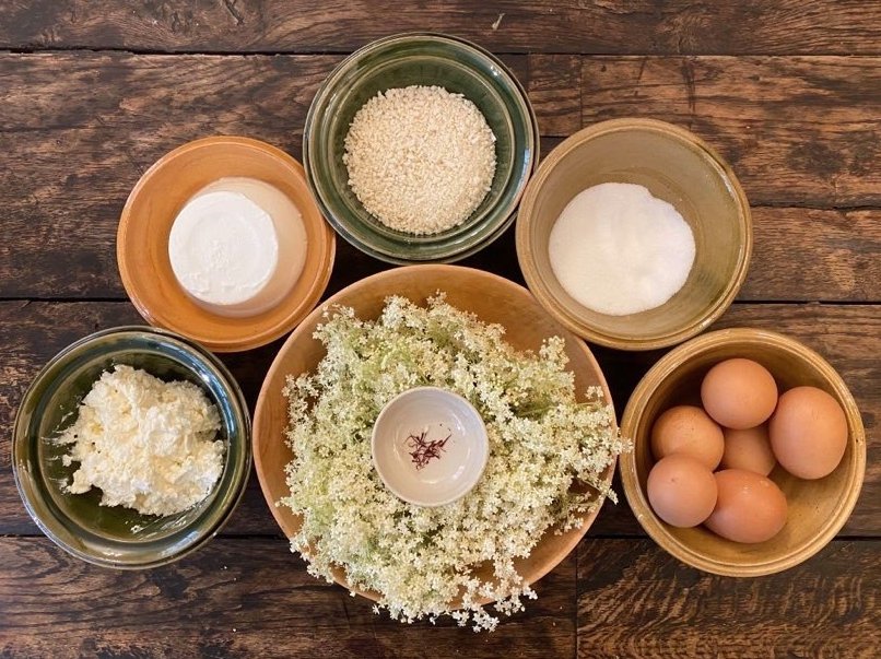 A series of raw ingredients in bowls