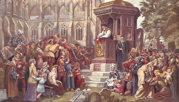 A protestant preacher preaching to a crown from the pulpit