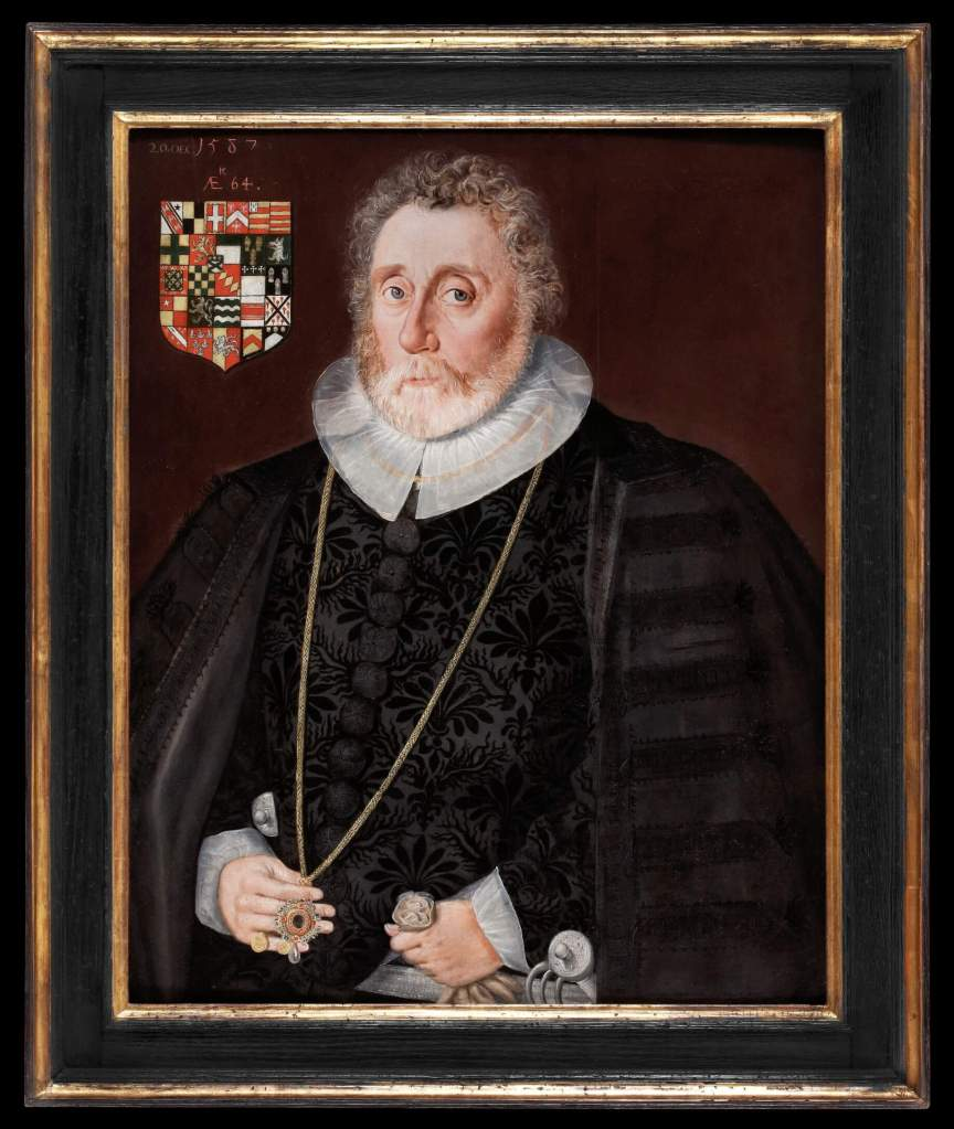 Tudor art - Richard Wingfield by Robert Peake the Elder, 1587. Oil on panel, on display in the Love's Labour's Found Exhibition at the Philip Mould & Co Gallery.