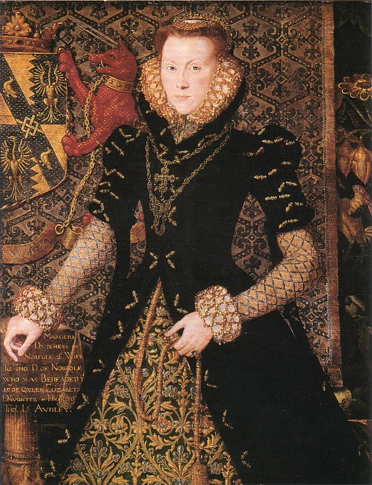 A portrait  of Margaret Audley in a black gown.