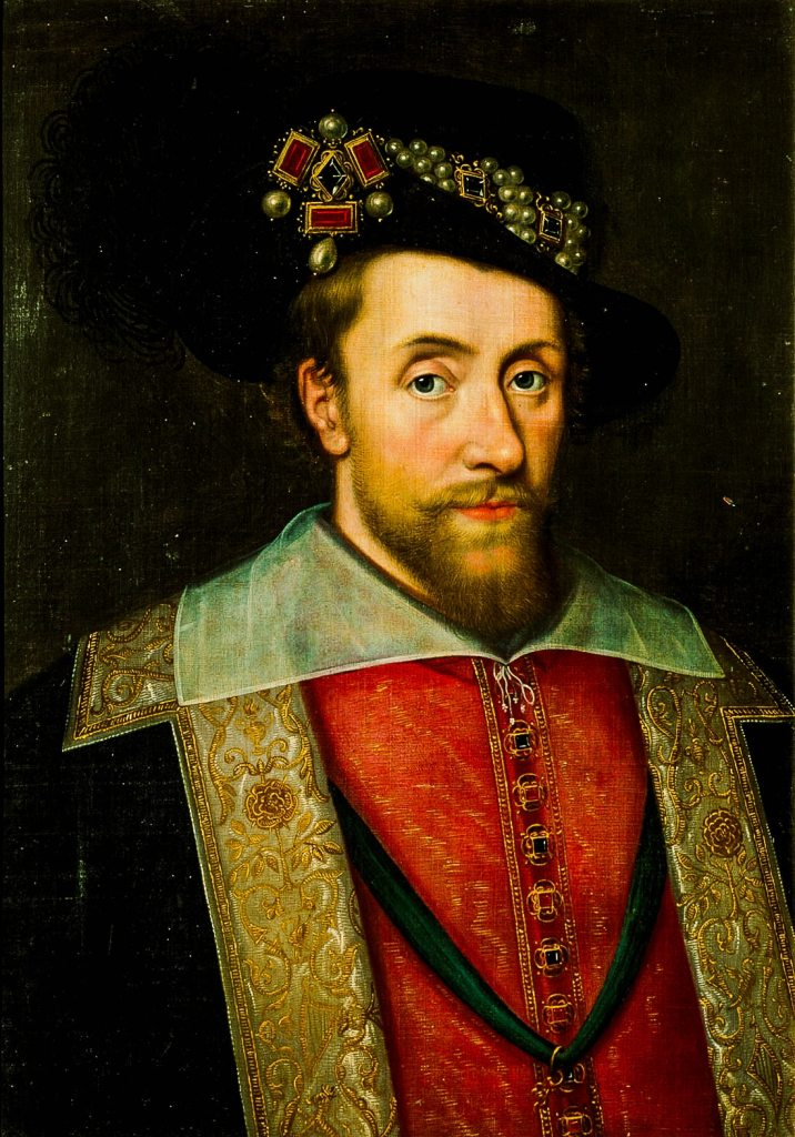 A portrait of Jame I of England, wearing The Three Brothers Jewel in his hat.