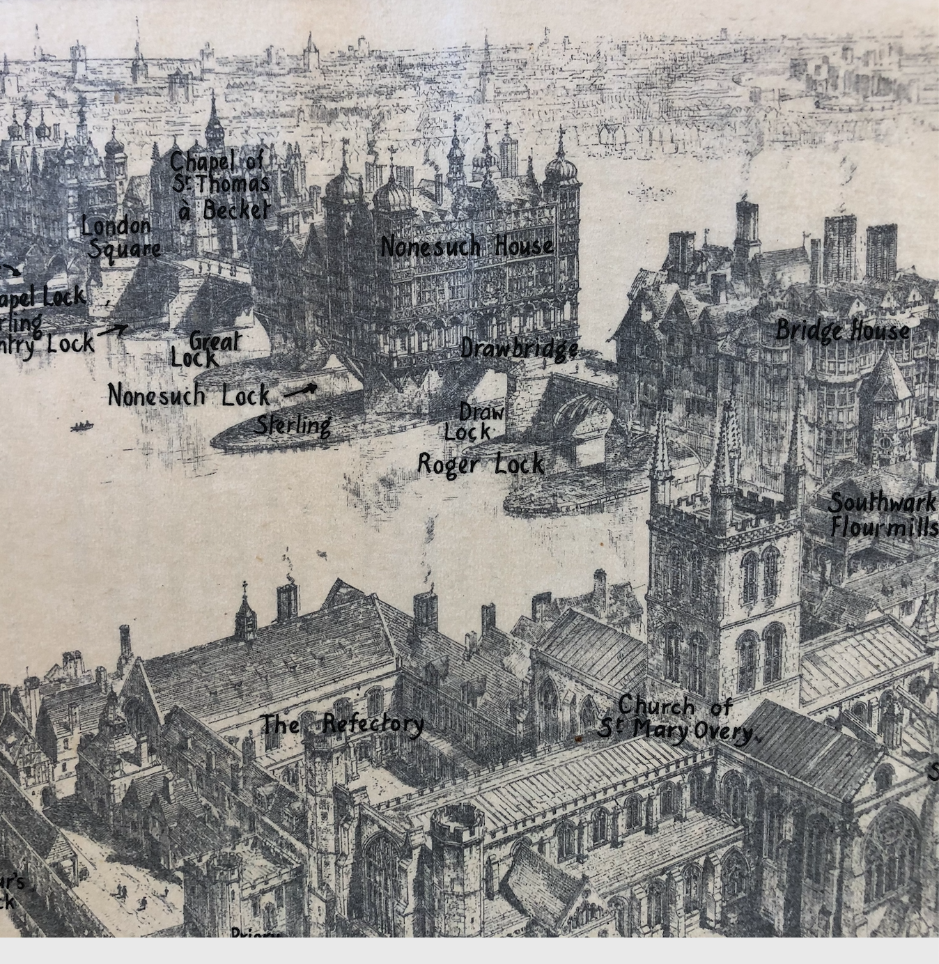 Annotated drawing of old London Bridge