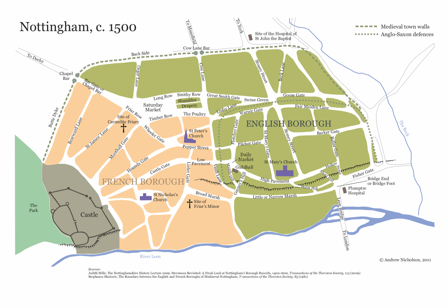 Plan of Nottingham town and castle circa 1500