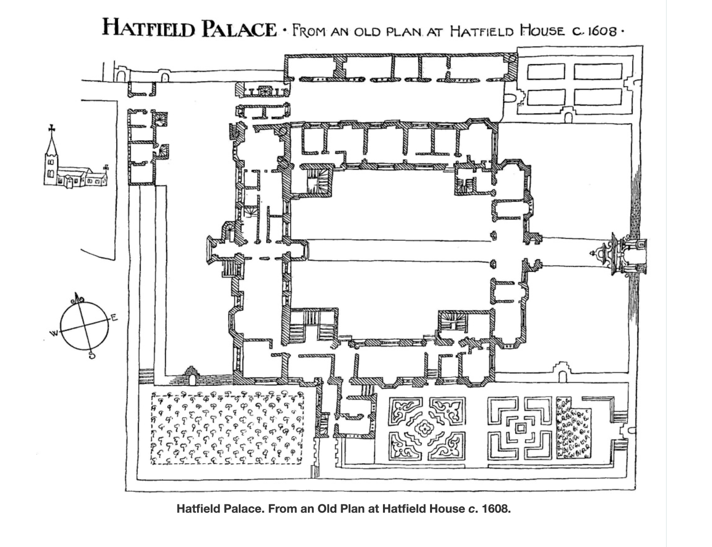 Plan showing the arrangement of buildings at the Old Palace of Hatfield
