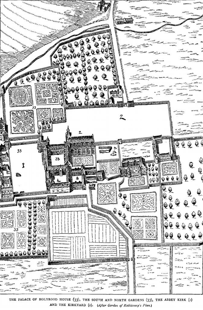 A drawing of Holyroodhouse from a  bird's eye view