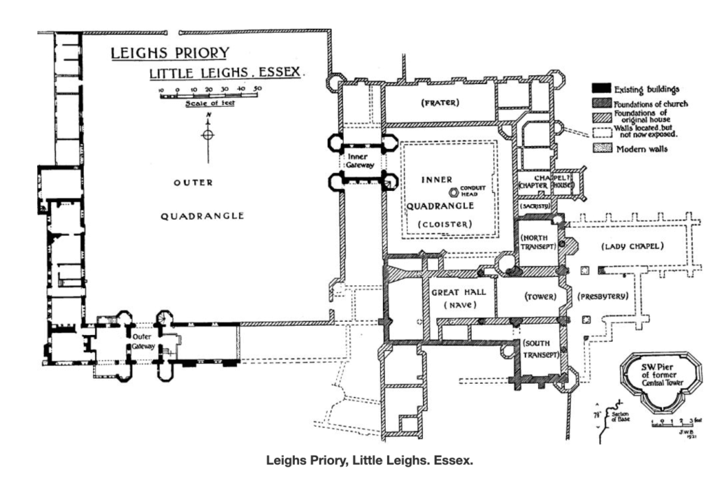 The plan of Leez's Priory, Richard Rich's principal country seat