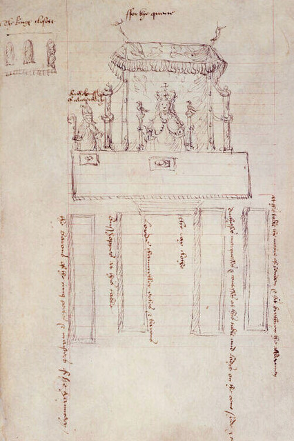 Sketch of Anne Boleyn sitting under a canopy of estate for her coronation banquet in Westminster Hall.