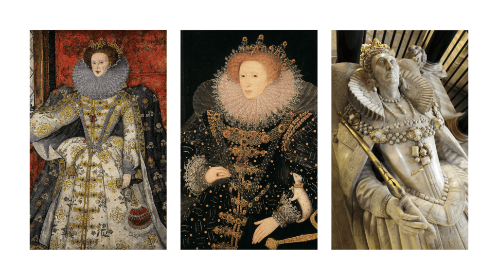 A trio of pictures showing Elizabeth I adorned with The Three Brothers Jewel.