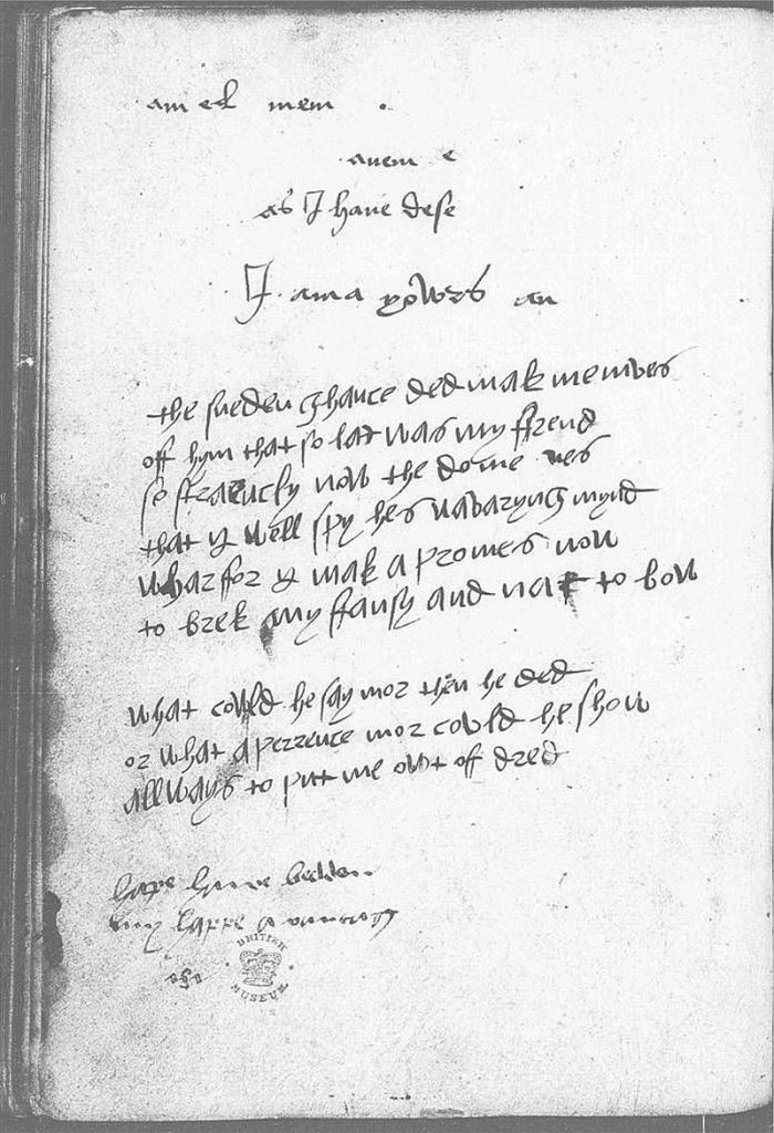 A copied page of handwriting from the Devonshire Manuscript; a text owned by Mary Howard