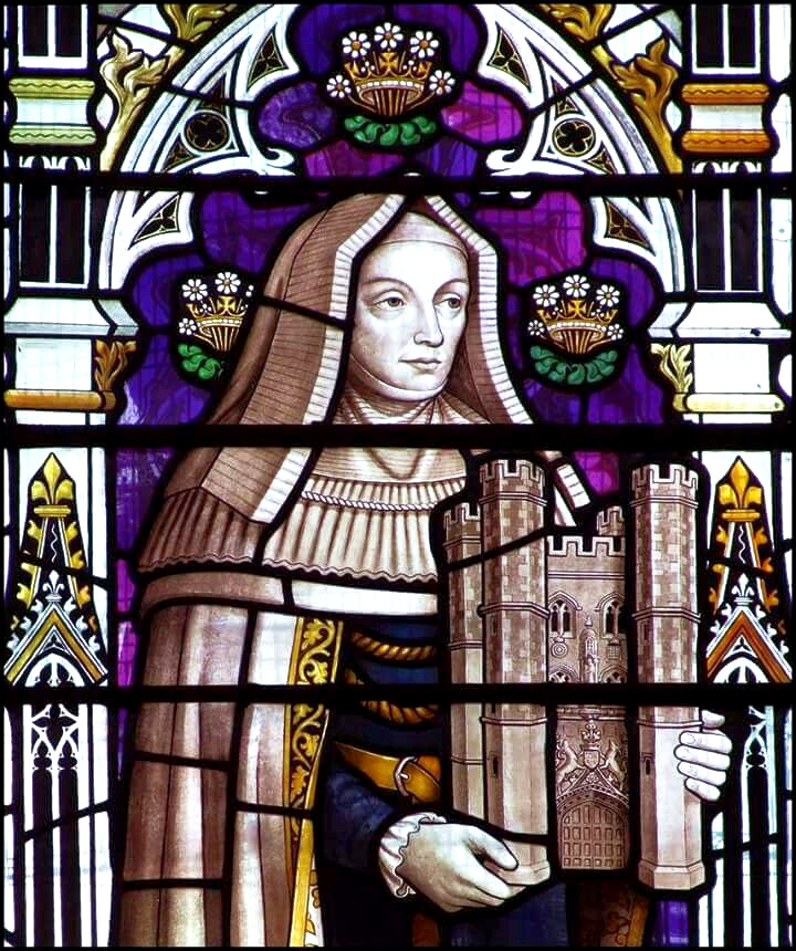 Stained glass window showing an image of Margaret Beaufort, symbolically holding the gatehouse of Christ's College, Cambridge, which she founded.