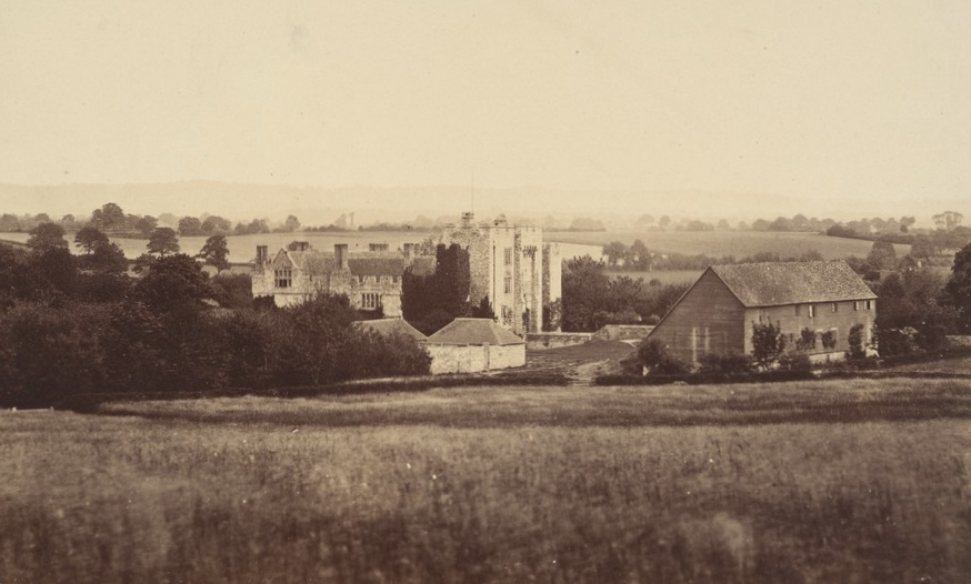 An old photo of Hever Castle, showing the now demolished barn and gatehouse